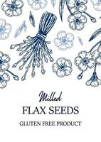 diseño vertical de lino dibujado a mano. ilustración vectorial en estilo boceto para semillas de lino y envases de aceite