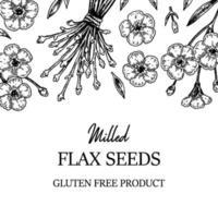 marco de lino dibujado a mano. ilustración vectorial en estilo boceto para semillas de lino y envases de aceite