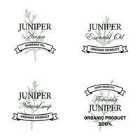 Logotipo de productos naturales de enebro con elemento dibujado a mano aislado sobre fondo blanco. ilustración vectorial en estilo vintage