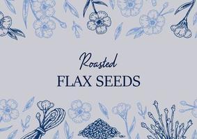 diseño de lino dibujado a mano. ilustración vectorial en estilo boceto para semillas de lino y envases de aceite