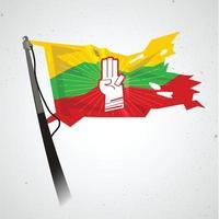 Saludo de tres dedos en la bandera de myanmar - vector