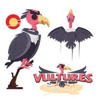 vulture bird set with logo - vector illustration