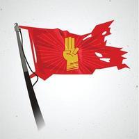 Bandera roja con símbolo de tres dedos - vector