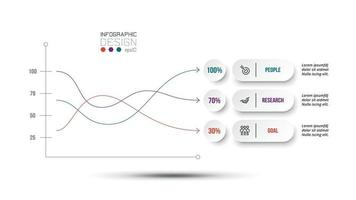 Business concept infographic template with percentage option. vector