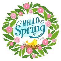 tarjeta de felicitación floral con letras hola primavera