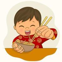 niño en traje chino comiendo un plato de fideos ramen vector