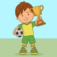 Boy with a soccer ball and a winner Cup vector
