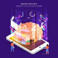ilustraciones de análisis de cerebros de dispositivos móviles