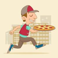 Jumping delivery man with pizza vector