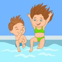 Couple of kids jumping into the cool waters of a pool vector