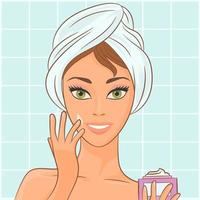 Girl puts cosmetic cream on her face vector