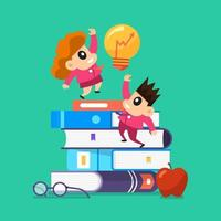 Illustration concept education with books vector