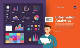hombre analiza la ilustración de datos