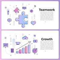 banner illustrations with business outline icons vector