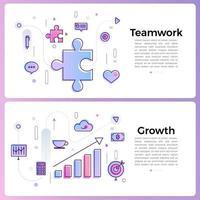 ilustraciones de banner con iconos de contorno empresarial