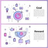 Ilustración de banner con iconos de contorno empresarial