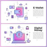 banner illustration with business outline icons vector