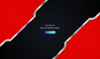 Dark black hexagon background with red and silver list decoration.