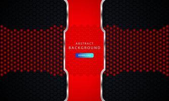 Fondo hexagonal negro oscuro con decoración de lista roja y plateada vector