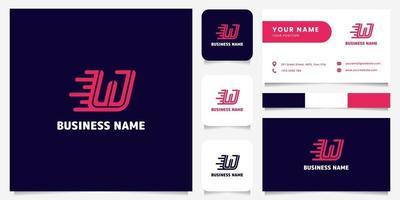 Logotipo de velocidad de letra w rosa brillante simple y minimalista en logotipo de fondo oscuro con plantilla de tarjeta de visita vector