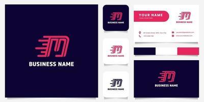 Logotipo de velocidad de letra m rosa brillante simple y minimalista en logotipo de fondo oscuro con plantilla de tarjeta de visita vector
