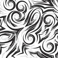 Vector patrón transparente negro de ondas o remolino dibujado con un pincel para decoración aislado sobre fondo blanco.