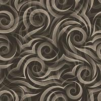 Seamless vector pattern of smooth lines drawn by beige pen in the form of spirals and curls isolated on dark background.