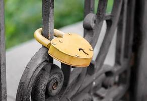 candado de oro en la puerta de hierro foto