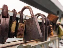 Candados oxidados en el cerco foto