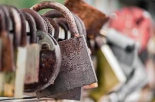 Old locks on fence