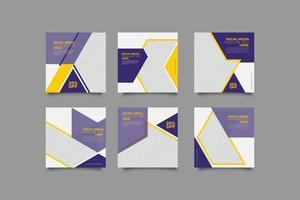Modern business geometric purple instagram post templates set vector