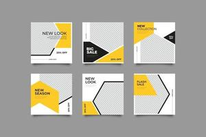 yellow geometric abstract instagram posts template vector