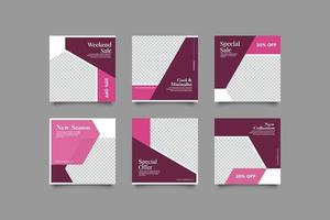 Purple women geometric abstract instagram post templates bundle