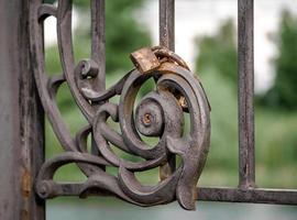 Iron gate with rusty locks