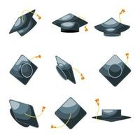 Graduation Hat Icon Collection vector