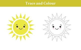 trazar y colorear el sol vector