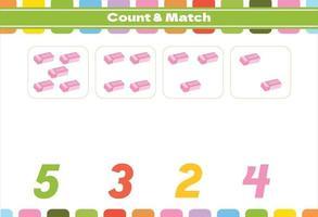 juego de conteo para niños en edad preescolar vector