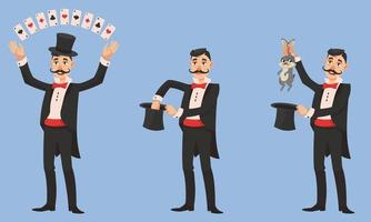 Magician in different poses. vector