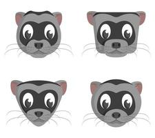 Set of cartoon ferrets. Different shapes of animal heads. vector