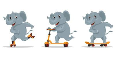 Funny cartoon elephant. Animal riding on skateboard, roller skates and scooter. vector