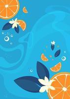 plantilla de póster con naranjas y vainilla. vector
