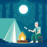 acampando en el bosque de montaña vector
