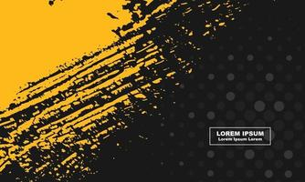 abstract background Black and yellow grunge and halftone circle vector