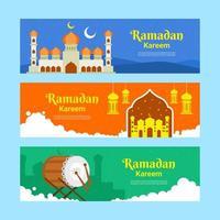 Set of Ramadan Kareem Banner vector