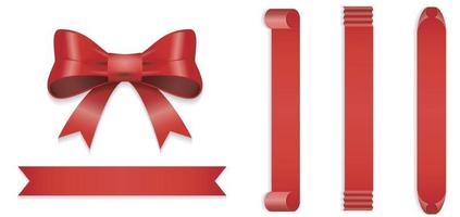 Red satin gift ribbon bow isolated on white background, top view. vector