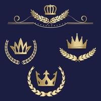 Set of luxury gold labels, emblem, medals, sign with laurel wreath, crown for retro design of diploma, award, logo, icon. vector