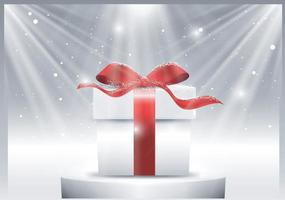 Gift box against a Christmas snowflake background vector