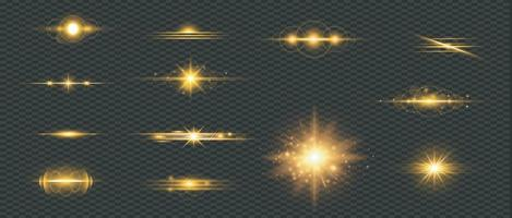 Set of golden lens flare vector