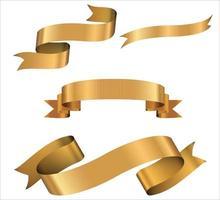 banderas de cinta dorada. conjunto de cintas de oro. vector