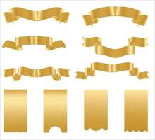 Golden ribbon banners. Set of gold ribbons. vector